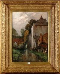 paysage animé au ruisseau by hippolyte emmanuel boulenger