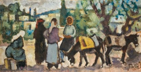 women and donkeys in a galilee landscape by arieh allweil