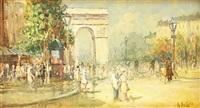 straßenpromenade mit spaziergängern. sommerliche szene in impressionistischer manier by arnaldo de lisio