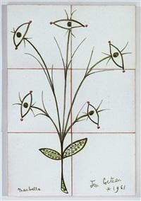 six carreaux en faïence représentant une fleur terminée par des yeux by jean cocteau