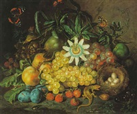 still life of grapes, plums, strawberries and other fruits, nest with eggs, a passion flower with a lizard by johann daniel bager