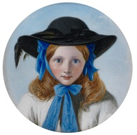 girl with blue bow and black bonnet by henry nelson o'neil