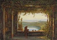 blick von der pergola des kapuziner-klosters in nemi auf den see mit genzano by carl (karl) wilhelm götzloff