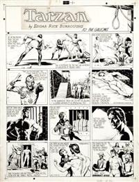 tarzan en 4 strips et un bandeau de titre by burne hogarth