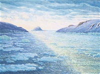 polar summer, franz josef land: bates sound with bruce and mabel islands, northbrook island beyond by wladimir goichman