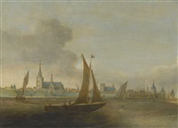 a view of a walled city on an estuary with small vessels in the foreground by hans (johan) goderis