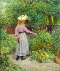 girl in garden by john d. kenworthy