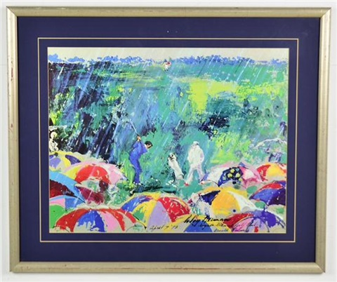 arnie in the rain by leroy neiman