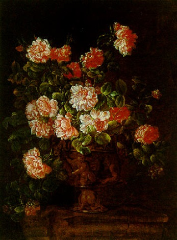 Still Life Of Roses In An Ormolu Vase With Putti Resting Upon A