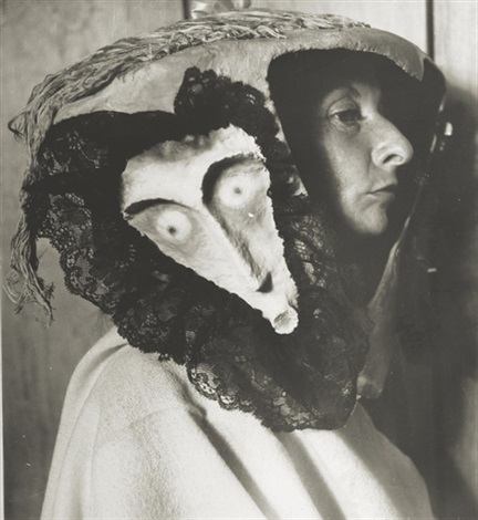 remedios varo wearing a mask made by leonora carrington and kati horna by kati horna