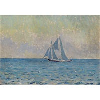sailboat on the sea by morgan colt