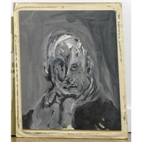portrait of a man (the artist?) by marvin israel