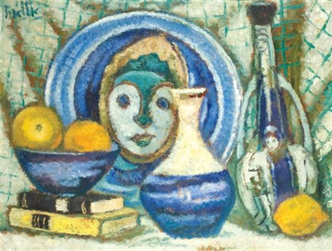 still life with mask by arieh allweil
