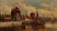 niederländischer ort am meer mit segelschiffen und booten by van hoom