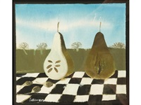 still life study of fruit on a chequered by mary fedden