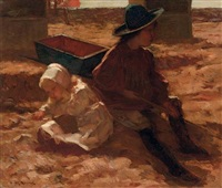 children playing on the beach by marinus van der maarel