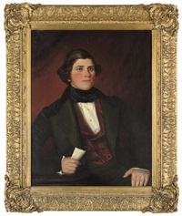 portrait of a gentleman in a green coat with a white shirt, black necktie and crimson waistcoat by scott
