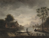 fishing at nightfall by jacob johann verreyt