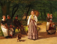 copenhageners relaxing in a park (frederiksberg have?) by ludwig august smith
