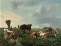 cows resting near a stream by anthony jacobus offermans