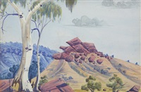 untitled (central australian landscape) by albert namatjira
