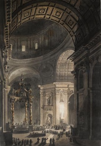 the interior of st peters with the baldacchino by louis jean desprez