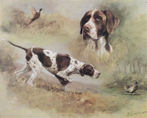 a pointer with pheasants study by desmond snee