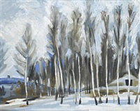 winter landscape by rostislav dmitrievich koryakin