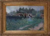 vue de waasmunster, heidekapel, avec paysan et vaches by edmond verstraeten