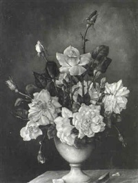 a still life of roses in a vase on a marble ledge by james doble
