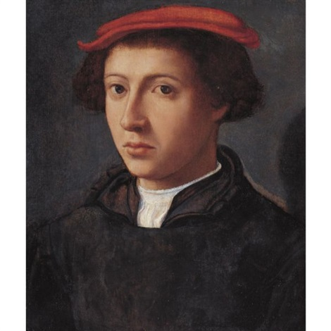 portrait of a young man bust length turned slightly to the left wearing a red cap by dirck jacobsz