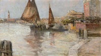 trading vessels moored on a venetian quay by e. selva
