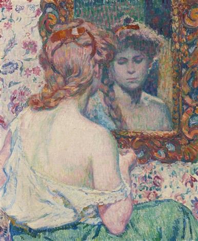 femme au miroir by théo van rysselberghe