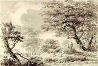 a wooded landscape with figures resting under a tree by hermanus van brussel