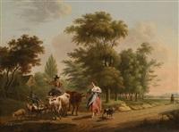 landschaft mit reisenden auf einer strasse by h. marquardt