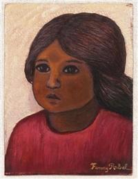 niña con vestido rojo by fanny rabel