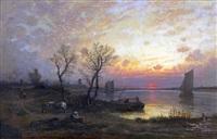 coucher de soleil sur la meuse by auguste paul charles anastasi