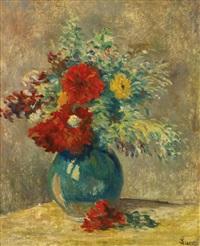 vase vert aux fleurs multicolores and village pres de la rivière: a double-sided painting by maximilien luce
