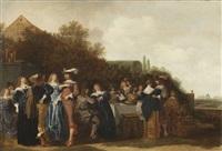 höfische gesellschaft im freien, rechts blick in einen barockgarten by dirck hals