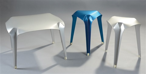 nature of material coffee table and stools 3 works by gilli kuchik and ran amitai