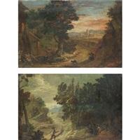 paesaggio con contadini (+ paesaggio con viandanti; pair) by pietro roncelli