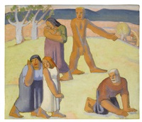 figures in a landscape by frank dobson
