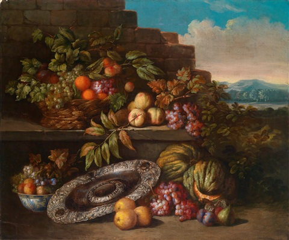 ein stillleben von früchten und einer silbernen prunkschale auf einem sockel in einer weiten landschaft by jan pauwel gillemans the younger