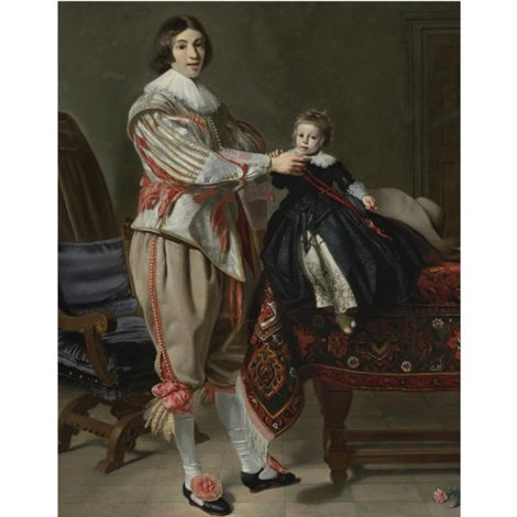 portrait of a gentleman and his son dirck van der wissel and his son jacob by thomas de keyser