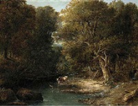 cattle watering in a wooded landscape by william bath