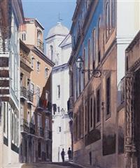 lisbon street scene by virgilio raposo