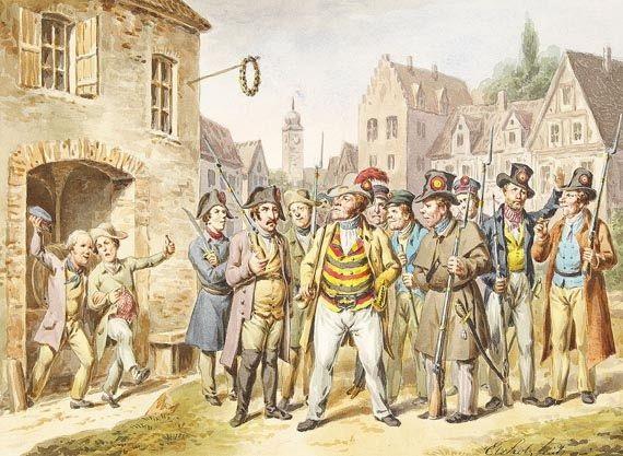 1848er bürgerwehr in einer süddeutschen stadt by ludwig elsholtz