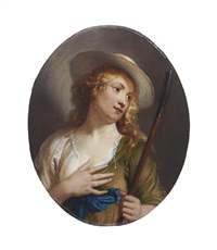 a young shepherdess wearing a straw hat with a shepherd's crook by erasmus quellinus the younger