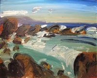 rock pool with distant mountains by gerhard batha