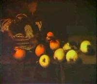 stilleben mit trauben in korb, apfeln und quitten by johannes bouman